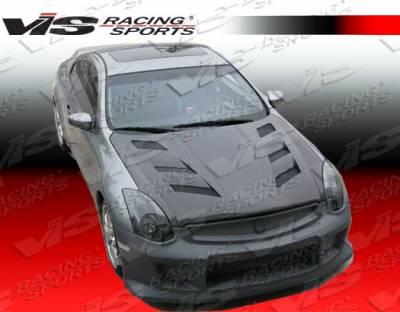 VIS Racing - Infiniti G35 2DR VIS Racing AMS Black Carbon Fiber Hood - 03ING352DAMS-010C