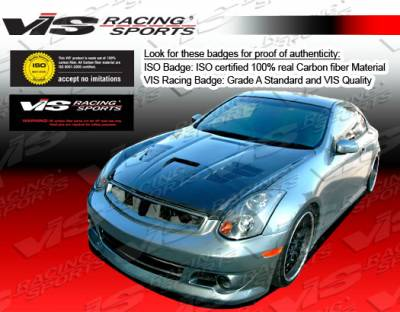 VIS Racing - Infiniti G35 2DR VIS Racing Invader-3 Black Carbon Fiber Hood - 03ING352DVS3-010C