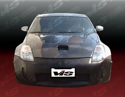 VIS Racing - Nissan 350Z VIS Racing Fuzion Black Carbon Fiber Hood - 03NS3502DFZ-010C