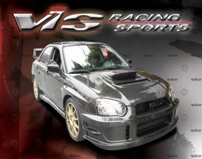 VIS Racing - Subaru WRX VIS Racing V Line Black Carbon Fiber Hood - 04SBWRX4DVL-010C