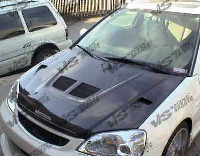 VIS Racing - Honda Civic HB VIS Racing EVO Black Carbon Fiber Hood - 88HDCRXHBEV-010C