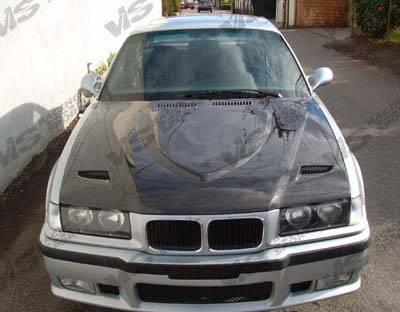 VIS Racing - BMW 3 Series 2DR VIS Racing Euro R Black Carbon Fiber Hood - 92BME362DEUR-010C