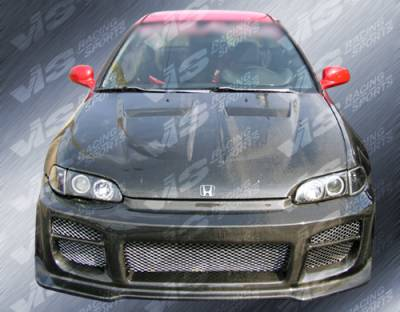 VIS Racing - Honda Civic 2DR VIS Racing Xtreme GT Black Carbon Fiber Hood - 92HDCVC2DGT-010C