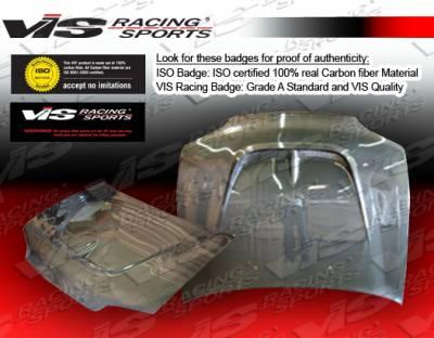 VIS Racing - Honda Civic 2DR VIS Racing Monster Black Carbon Fiber Hood - 92HDCVC2DMON-010C