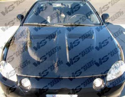 VIS Racing - Honda Del Sol VIS Racing Xtreme GT Black Carbon Fiber Hood - 93HDDEL2DGT-010C