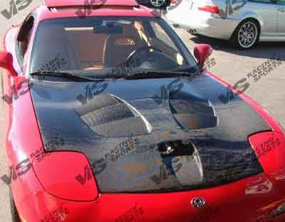 VIS Racing - Mazda RX-7 VIS Racing Fuzion Black Carbon Fiber Hood - 93MZRX72DFZ-010C