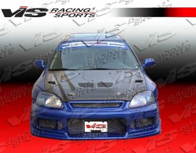 VIS Racing - Honda Civic 2DR VIS Racing EVO Black Carbon Fiber Hood - 96HDCVC2DEV-010C