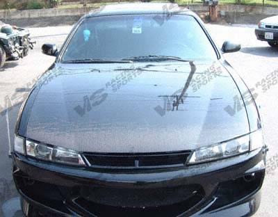 VIS Racing - Nissan 240SX VIS Racing OEM Black Carbon Fiber Hood - 97NS2402DOE-010C