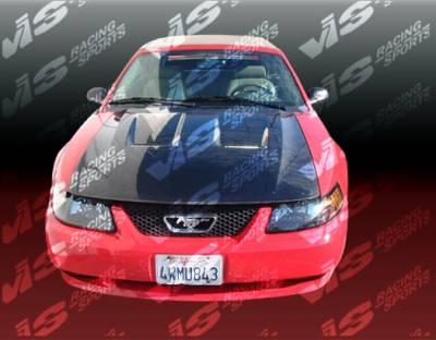 VIS Racing - Ford Mustang VIS Racing Heat Extractor Black Carbon Fiber Hood - 99FDMUS2DGT-010C