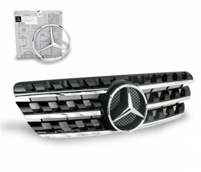 4CarOption - Mercedes ML 4CarOption Front Hood Grille - GRA-W1639805W164-BK