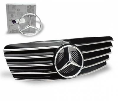 4CarOption - Mercedes CLK 4CarOption Front Hood Grille - GRA-W2089802WCL-BK