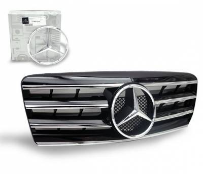 4CarOption - Mercedes E Class 4CarOption Front Hood Grille - GRA-W2109599WCL4-BK
