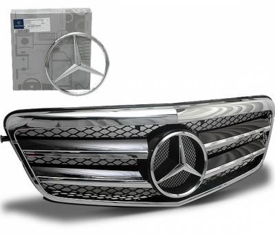 4CarOption - Mercedes E Class 4CarOption Front Hood Grille - GRA-W2120910WFCL-BK