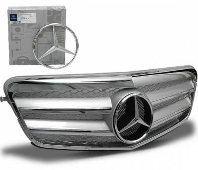 4CarOption - Mercedes E Class 4CarOption Front Hood Grille - GRA-W2120910WFCL-SL