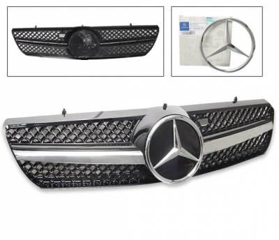 4CarOption - Mercedes CL Class 4CarOption Front Hood Grille - GRA-W2150006WSLN-BK