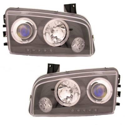 Custom - Black Blue Halo LED Headlights