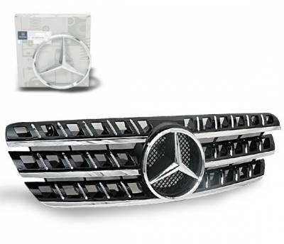 4CarOption - Mercedes ML 4CarOption Front Hood Grille - GRG-W1639805G164D-BK