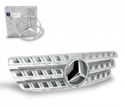 4CarOption - Mercedes ML 4CarOption Front Hood Grille - GRG-W1639805G164D-SL