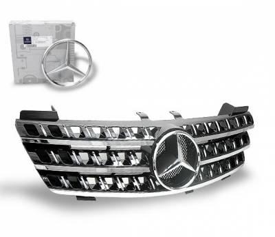 4CarOption - Mercedes ML 4CarOption Front Hood Grille - GRG-W1640608G164D-BK