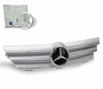 4CarOption - Mercedes C Class 4CarOption Front Hood Grille - GRG-W203SC0205G-SL
