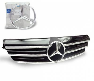 4CarOption - Mercedes CLK 4CarOption Front Hood Grille - GRG-W2090307F-CL3BK