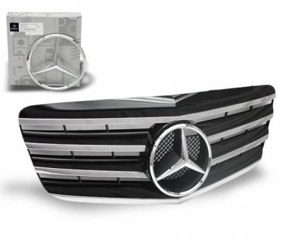 4CarOption - Mercedes E Class 4CarOption Front Hood Grille - GRG-W2110708GCL4-BK