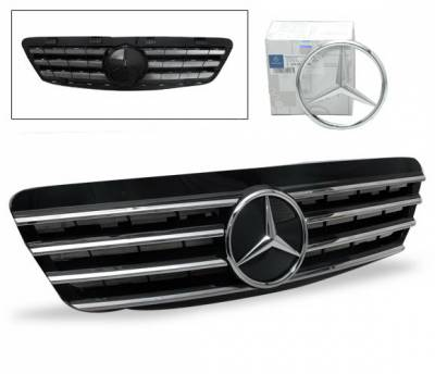 4CarOption - Mercedes S Class 4CarOption Front Hood Grille - GRG-W2209902GCL4-BK
