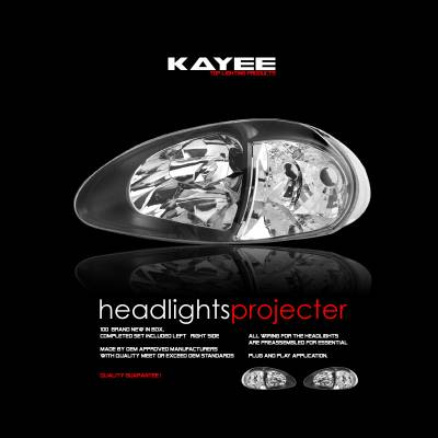 Custom - JDM Black 1pc Headlights