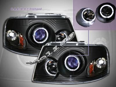 Custom - Black Blue Halo Headlights