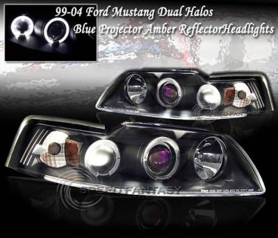 Custom - Euro Black Blue Halo Headlights