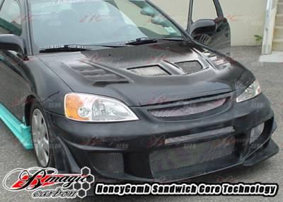 AIT Racing - Honda Civic AIT Racing R1 Style Carbon Fiber Hood - HC01BMR1SCFH