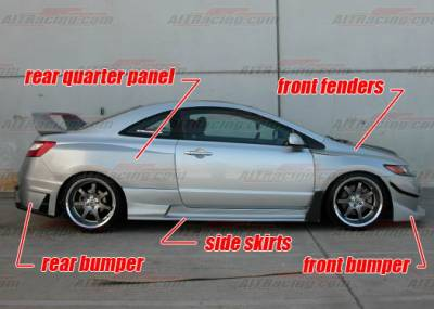 AIT Racing - Honda Civic AIT Racing GT-I Style Wide Body Kit - HC06BMGTiCK2