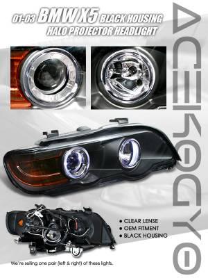 Custom - Euro Blue Halo Projector- Black Housing