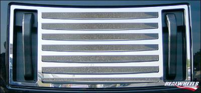 RealWheels - Hummer H2 RealWheels Pocketed 7-Louver Top Grille Overlay - Polished Stainless Steel - 1PC - RW100-1-A0102