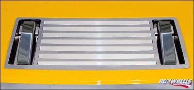RealWheels - Hummer H2 RealWheels Pocketed 7-Louver Top Grille Overlay with Smooth Billet Aluminum Hood Handles - 5PC - RW100-3-A0102