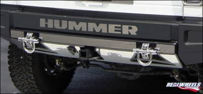 RealWheels - Hummer H2 RealWheels Rear Lower Bumper Overlay Kit - Polished Stainless Steel - 5PC - RW107-1-A0102