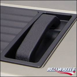 RealWheels - Hummer H2 RealWheels Smooth Hood Handles - For Factory Top Grille - Black Powder Coat Billet Aluminum - Pair - RW200-1BP-A0102