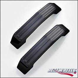 RealWheels - Hummer H2 RealWheels Grooved Hood Handles - For Factory Top Grille - Black Powder Coat Billet Aluminum - Pair - RW200-2BP-A0102