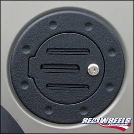 RealWheels - Hummer H2 RealWheels Grooved Non-Locking Fuel Door - Black Powder Coat Billet Aluminum - 1PC - RW202-2BP-NA0102