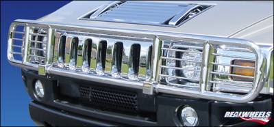 RealWheels - Hummer H2 RealWheels Brush Guard - Standard with Inserts - Polished Stainless Steel - 1PC - RW300-2-A0102