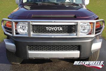 RealWheels - Toyota FJ Cruiser RealWheels Brush Guard - Wrap Around with Inserts - Polished Stainless Steel - 1PC - RW300-2-T0202