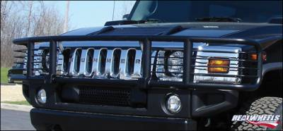 RealWheels - Hummer H2 RealWheels Brush Guard - Single Tier Wrap Around with Inserts - Black Powder Coat - 1PC - RW301-2BP-A0102