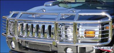 RealWheels - Hummer H2 RealWheels Brush Guard - Double Tier Wrap Around with Inserts - Polished Stainless Steel - 1PC - RW302-2-A0102