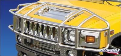 RealWheels - Hummer H2 RealWheels Brush Guard - Over-The-Hood Wrap Around - Polished Stainless Steel - 1PC - RW304-1-A0102