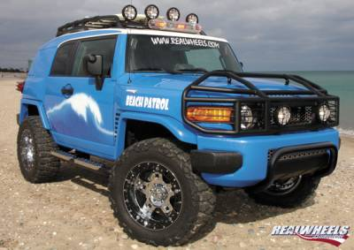 RealWheels - Toyota FJ Cruiser RealWheels Brush Guard - Over-The-Hood with Inserts - Polished Stainless Steel - 1PC - RW304-2-T0202