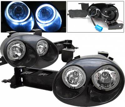 4 Car Option - Dodge Neon 4 Car Option Ralli-Style Halo Headlights - Paintable Surface Black - LH-DN95