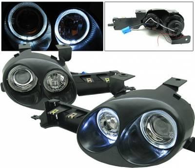 4 Car Option - Dodge Neon 4 Car Option Ralli-Style Halo Projector Headlights - LH-DN95P