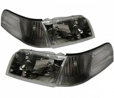 4 Car Option - Ford Crown Victoria 4 Car Option Euro Headlights - Black - LH-FCV98BC-6