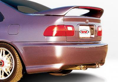 Wings West - Honda Civic 2DR Wings West W-Type Rear Bumper Cover - Fiberglass - 490070