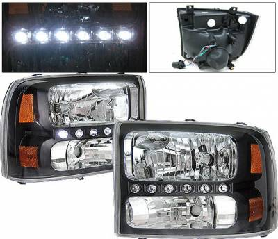 4 Car Option - Ford Superduty 4 Car Option LED Headlights - Black - 1PC - LH-FEC00LEDJB-KS